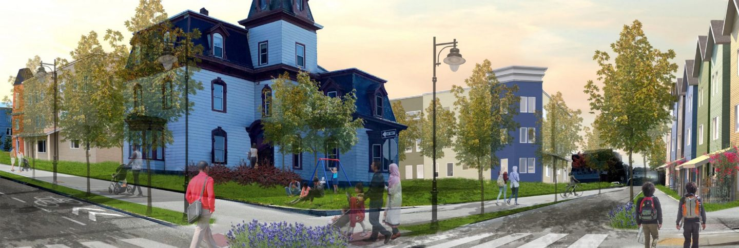 A rendering of proposed new apartments, buildings and more transformation in a neighborhood in Lewiston, Maine.